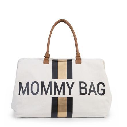 CHILDHOME Sac à langer mommy bag large cenavas beige rayures noir/doré