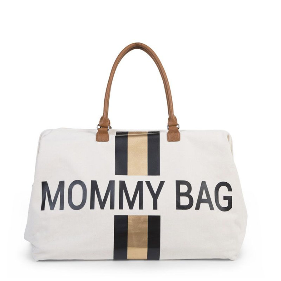 CHILDHOME Mommy Bag Groß Canvas Beige Stripes Black / Gold