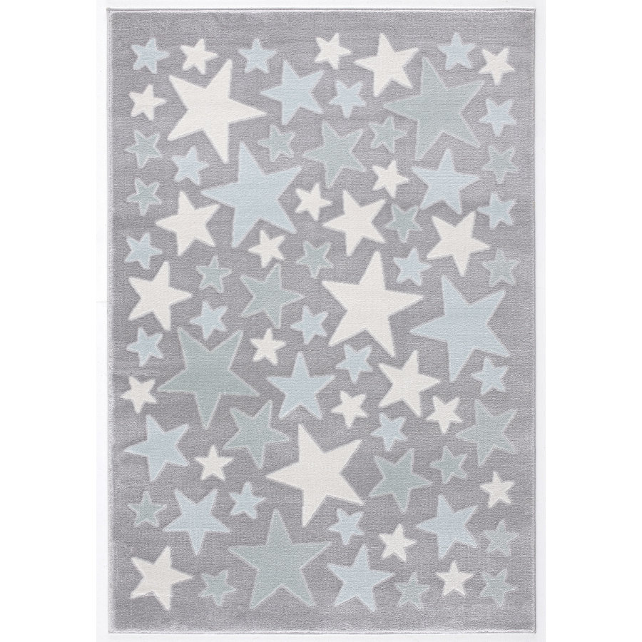 LIVONE-leikki ja lasten matto Happy Rugs Stella hopeanharmaa / sininen, 160 x 230 cm