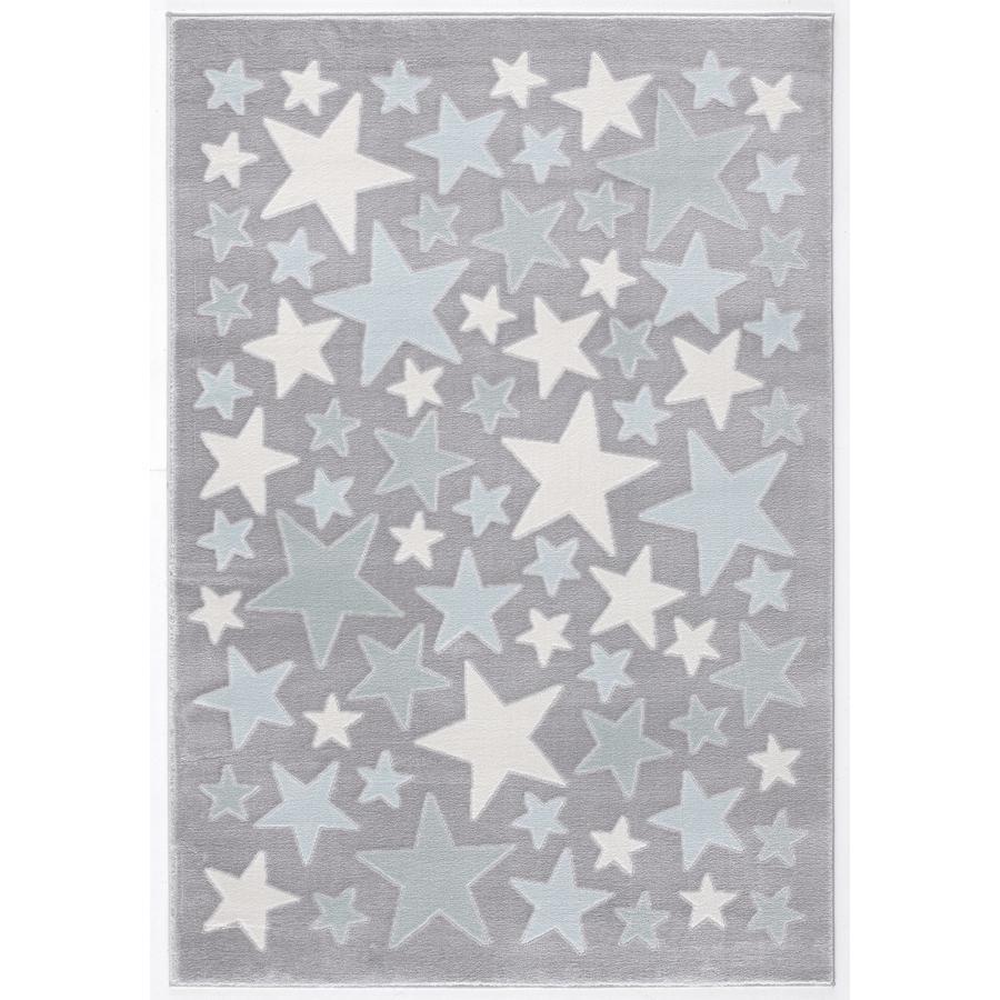LIVONE Tappeto da gioco per bimbi Happy Rugs Stella argento/blu 160 x 230 cm