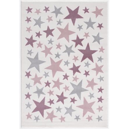 LIVONE play a dětský koberec Happy Rugs Stella krém / stříbrná šedá / růžová, 120 x 180 cm