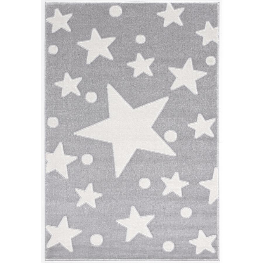 LIVONE play a dětský koberec Happy Rugs Estrella stříbrná šedá / bílá 120 x 180 cm