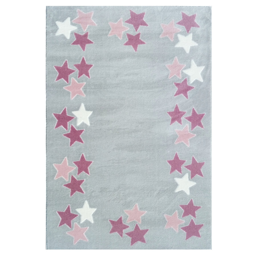 Tapis Happy Rugs Printemps gris argent/rose 120 x 180 cm
