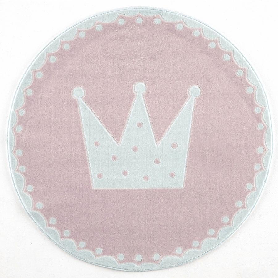 LIVONE lek og barneteppe Happy Rugs Krone rosa / hvit rund, 133 cm