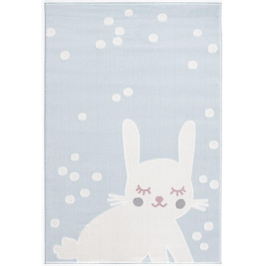 LIVONE play a dětský koberec Happy Rugs králík aqua / bílý, 120 x 180 cm