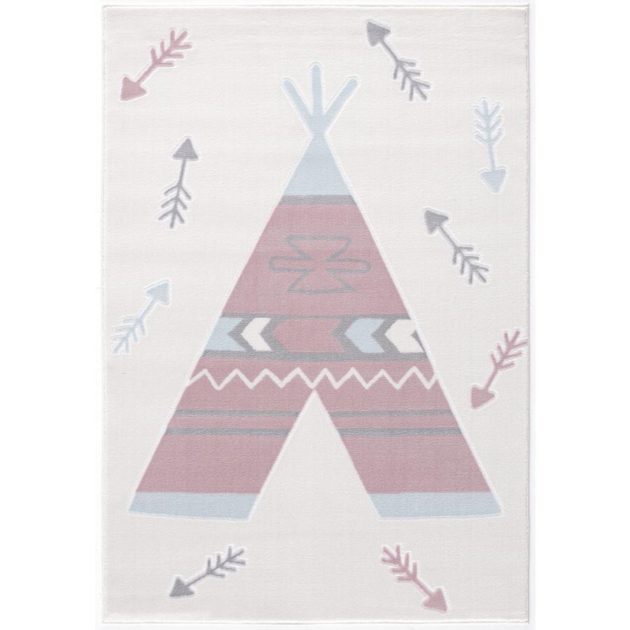 LIVONE leg og børnetæppe Happy Rugs Tippi creme / pink, 120 x 180 cm