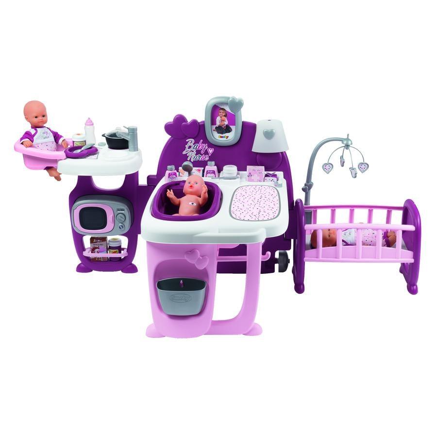 Smoby Grande maison des bébés pour poupée Baby Nurse rose, sons