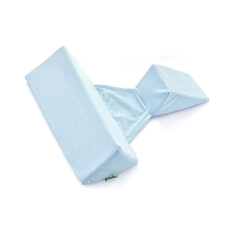 babyJem  Boczny klin do spania z poduszką niebieską.