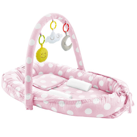 babyJem Gniazdko dla dziecka z zagłówkiem i łukiem do zabawy pink