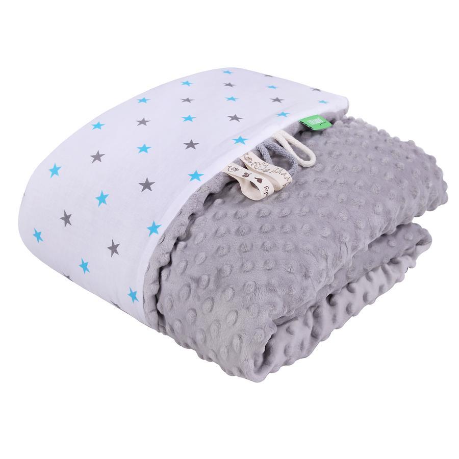 LULANDO deka Minky hvězdičky modrá/šedá 80 x 100 cm