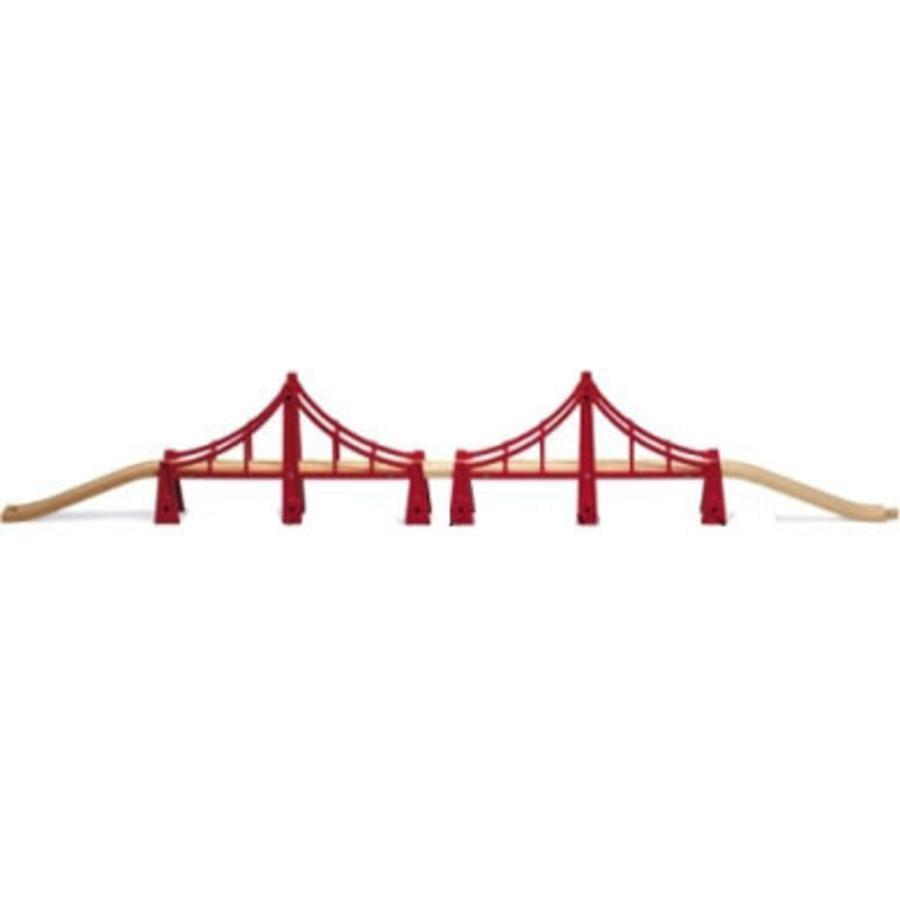 BRIO Doble puente colgante con vías de tren de madera
