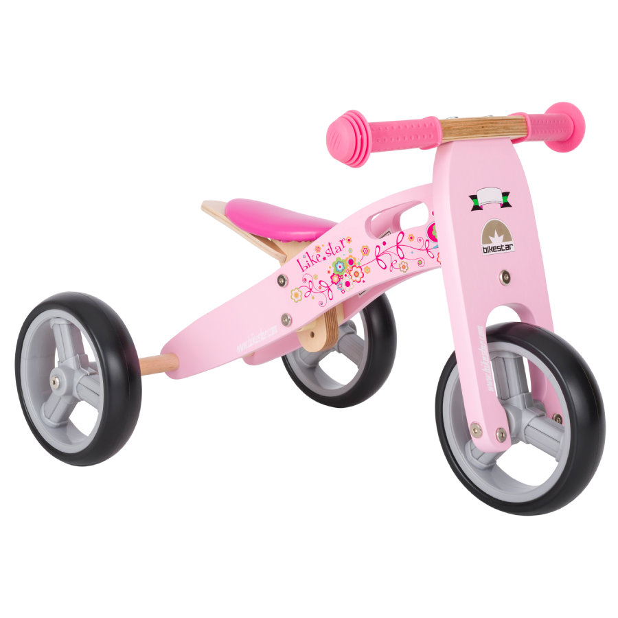 "bikestar 2 in 1 Mini Loopifiets 7"" Hout Flamingo Pink"
