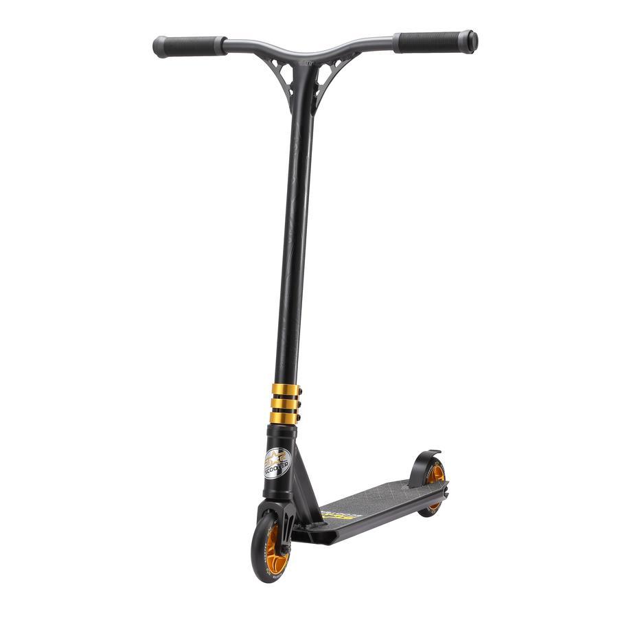 bikestar STAR- SCOOTER® Gratis stil Stunt scooter Sort mat & Go Guld