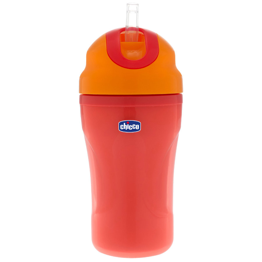 chicco Trinklernflasche rot mit Strohhalm 18M+