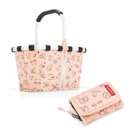 reisenthel® carrybag XS kids + wallet S in cats and dogs rose