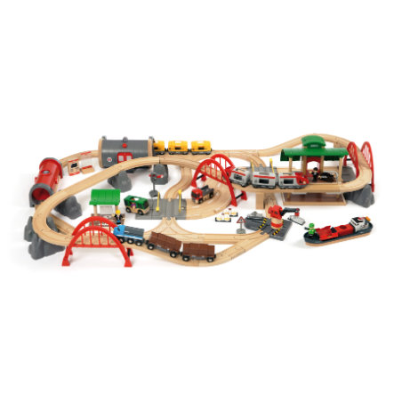 BRIO® WORLD Straßen und Schienen Bahn Set Deluxe