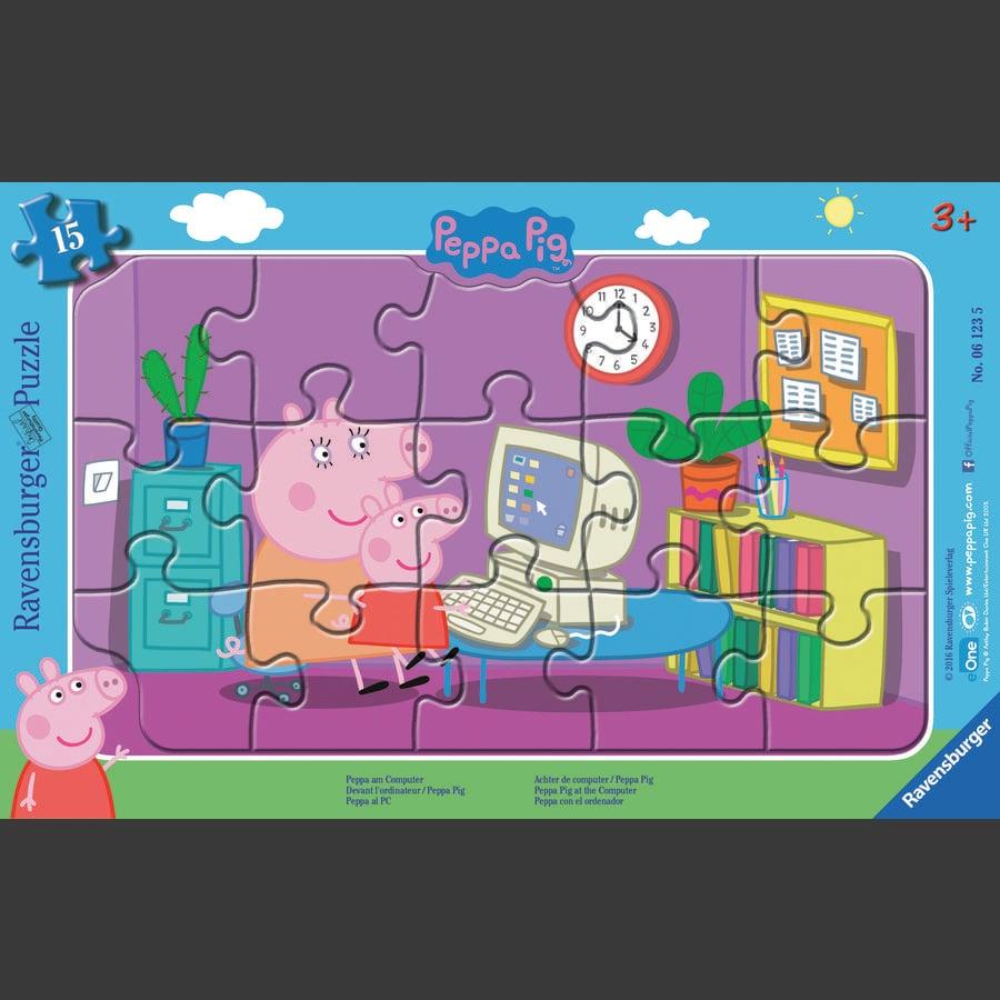 Ravensburger Frame -pelissä - Peppa Pig: Peppa tietokoneessa, 15 kappaletta