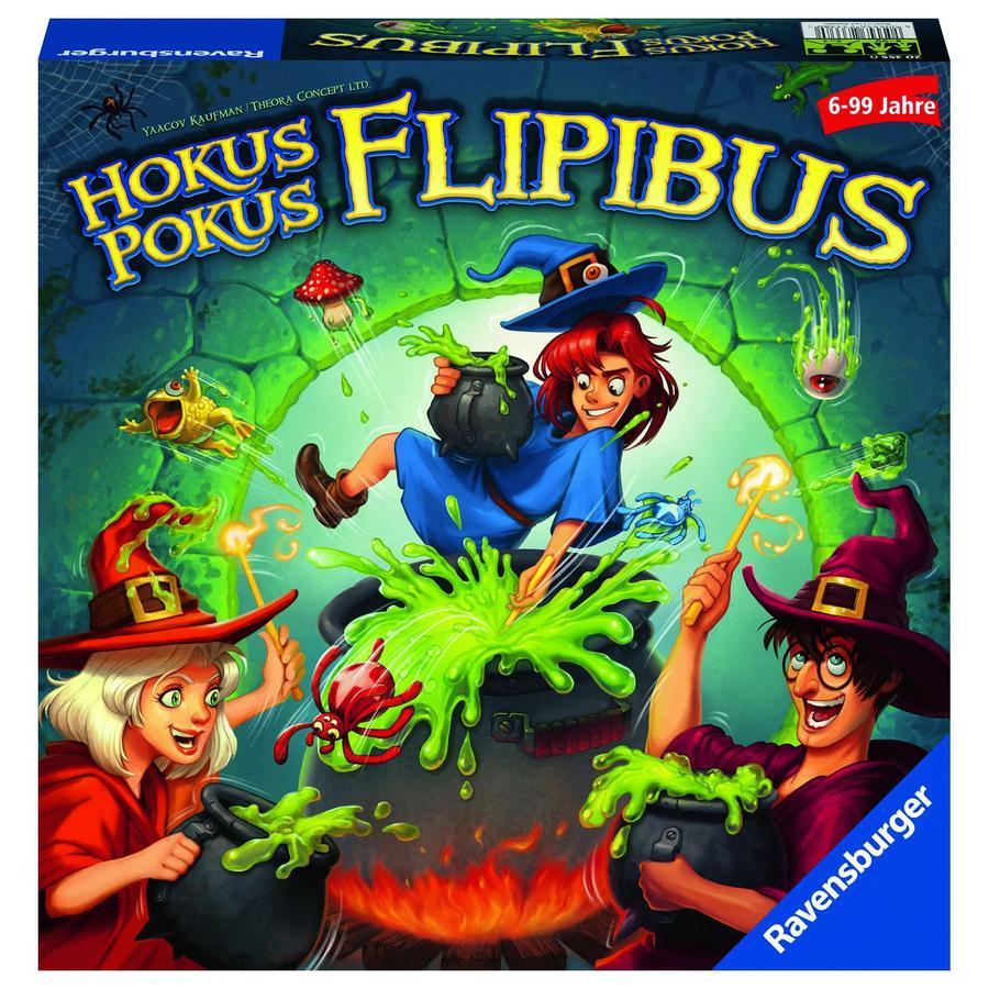 Ravensburger Kinderspiel - Hokus Pokus Flipibus, Aktionsspiel mit Springeffekt