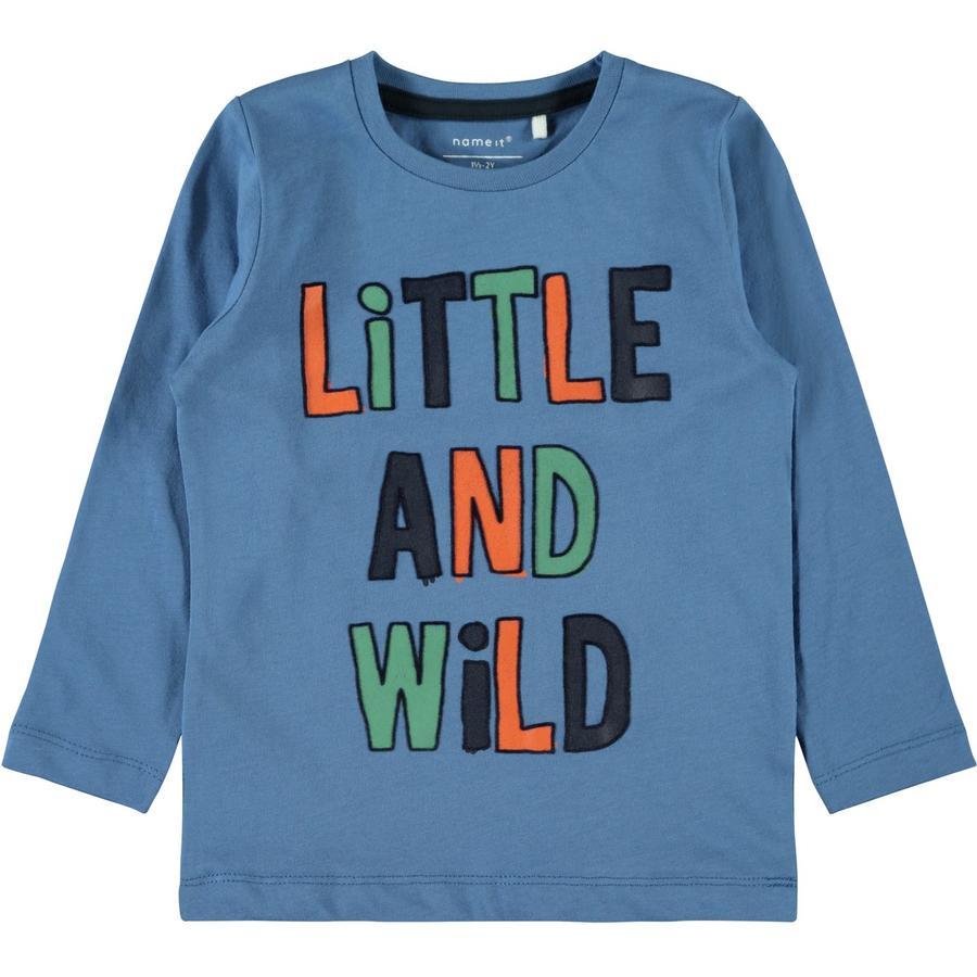 blau Langarmshirt mit modischen Schrift-Print