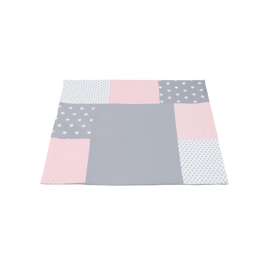 Ullenboom lappeteppe Skiftematteomslag rosa grå 75x85 cm