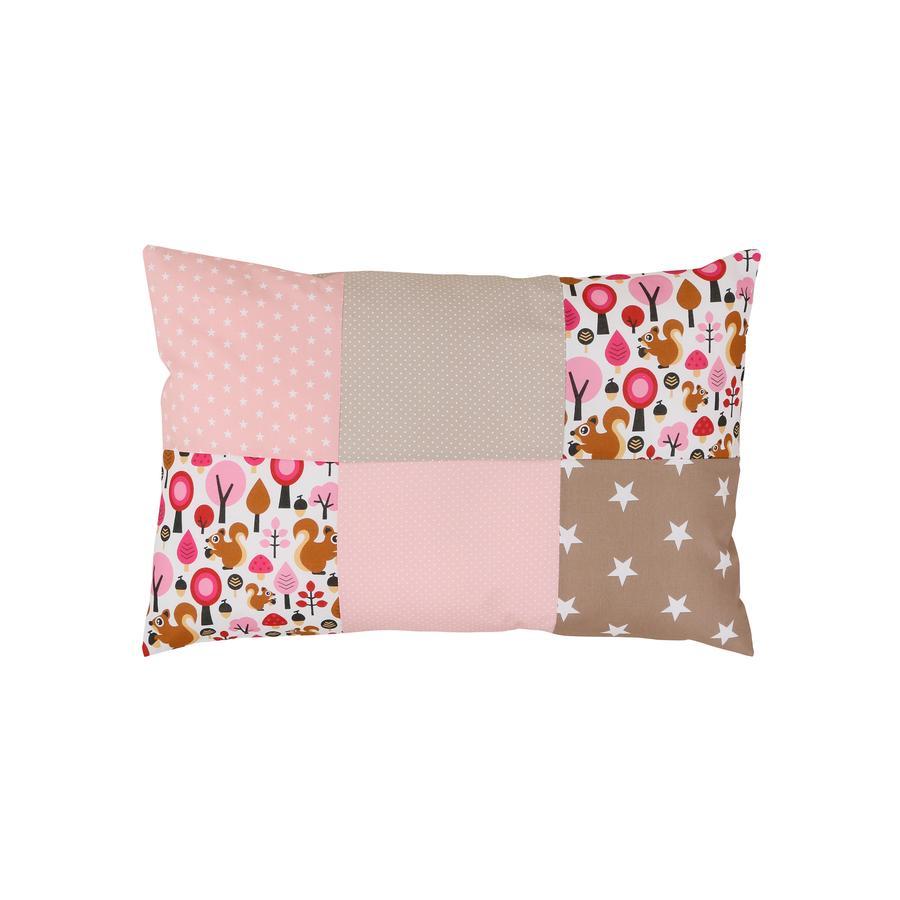 Ullenboom Taie d'oreiller enfant patchwork écureuil sable 40x60 cm