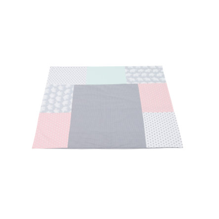 Ullenboom Housse de matelas à langer 75x85 cm patchwork éléphant menthe/rose