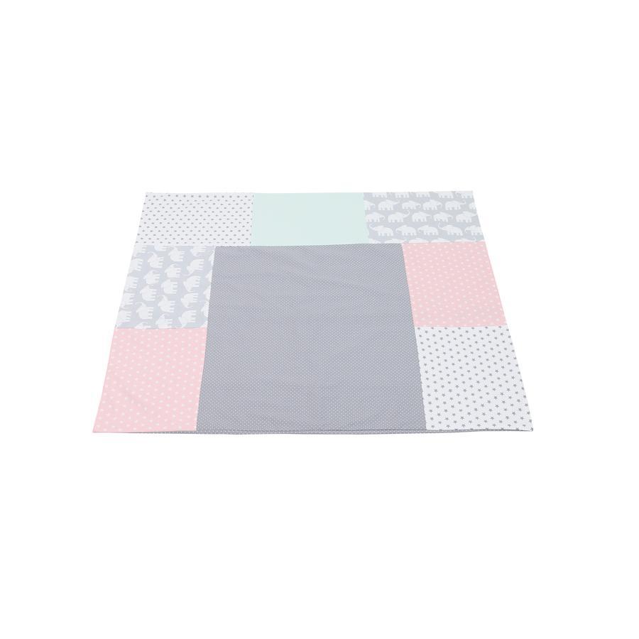 Ullenboom Patchwork Wickelauflagen-Bezug Elefant Mint Rosa 75x85 cm