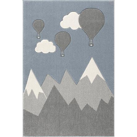 ScandicLiving Tapis enfant montagne montgolfière, gris argenté/blanc 120x180 cm