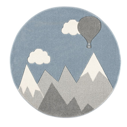 ScandicLiving Tappeto montagne e mongolfiera, grigio argento/bianco Ø 133 cm