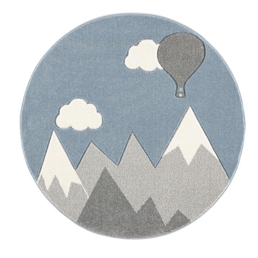 ScandicLiving Tapis enfant montagne montgolfière, gris argenté/blanc Ø 133 cm