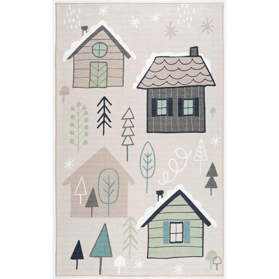 ScandicLiving Tapis enfant maisons, naturel 100x160 cm