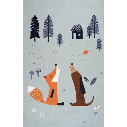 ScandicLiving Tapis enfant renard chien, gris 100x160 cm
