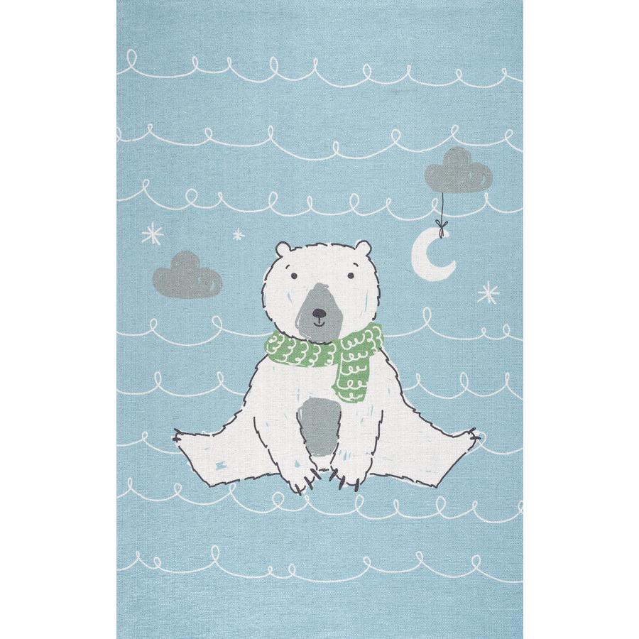 ScandicLiving teppe Isbjørn lysblå, print 100x160 cm
