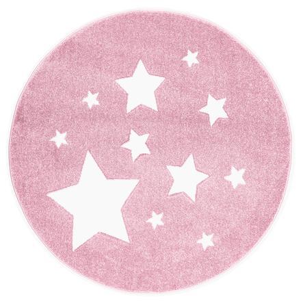 ScandicLiving Teppich Sterne rosa, rund Ø 133 cm