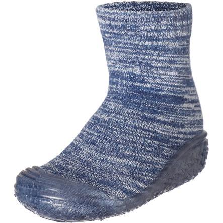 Playshoes Chaussons enfant tricot bleu marine