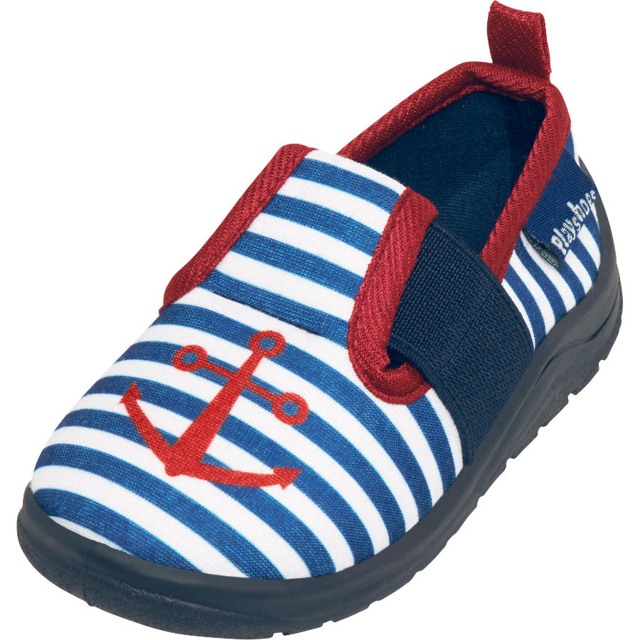 Playshoes Hausschuh Maritim marine/weiß