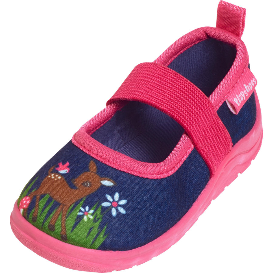 Playshoes Hausschuh Reh marine/pink