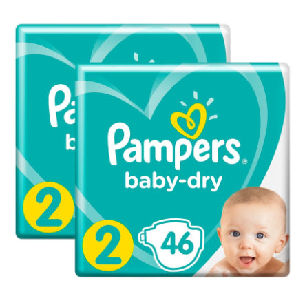 Pampers Windeln Baby Dry Gr. 2 Mini 2 x 46 Windeln 4 bis 8 kg Sparpack