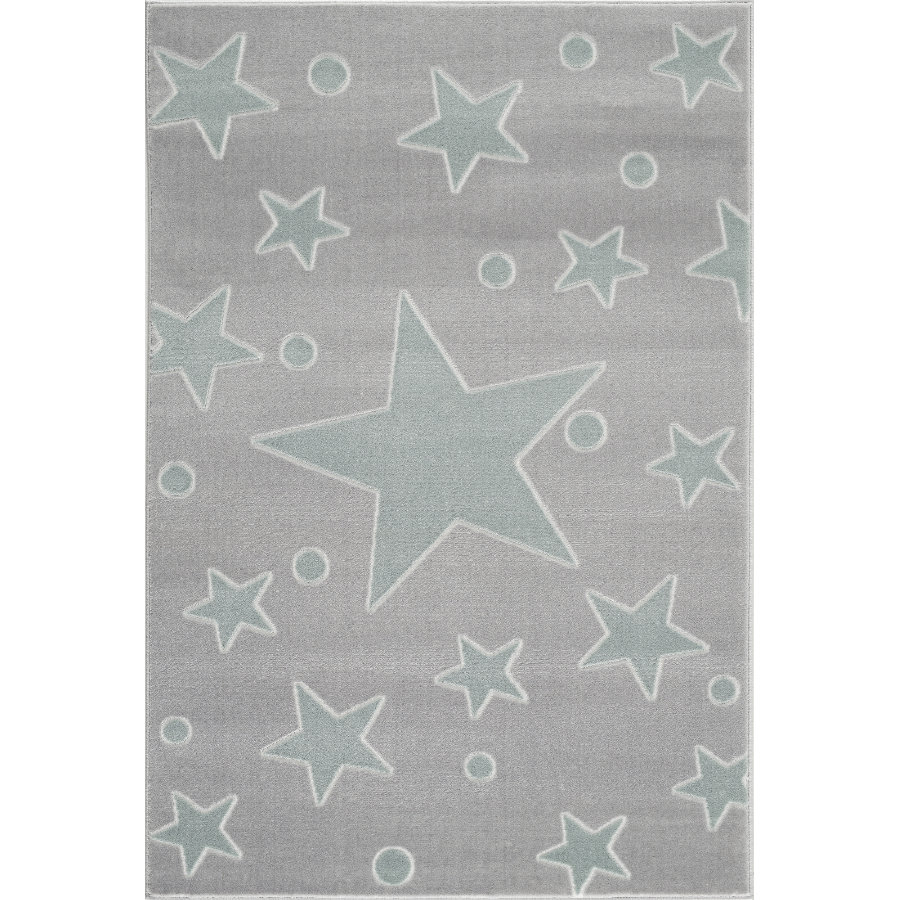 LIVONE play and children's tæppe Happy Rugs Estrella sølvgrå / mynte 100 x 160 c