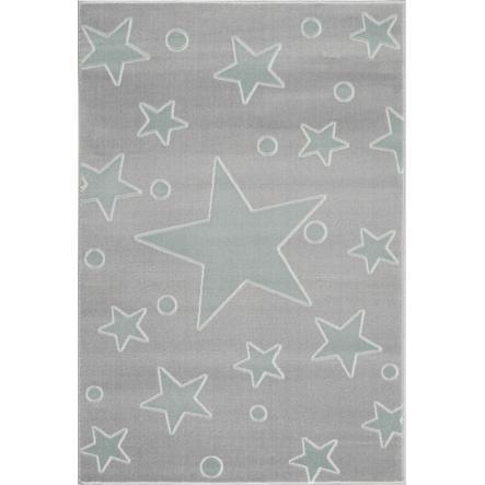 LIVONE play a dětský koberec Happy Rugs Estrella stříbrná šedá / máta 160 x 230 cm