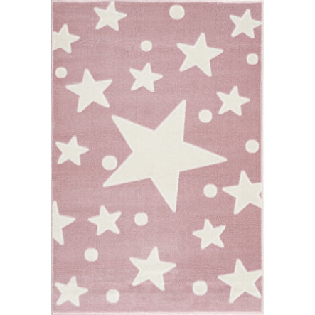 LIVONE Barnmatta Happy Rugs Estrella rosa/vit 160 x 230 cm