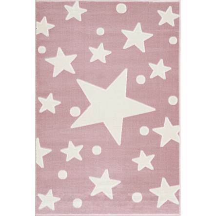 LIVONE play a dětský koberec Happy Rugs Estrella růžová / bílá 160 x 230 cm