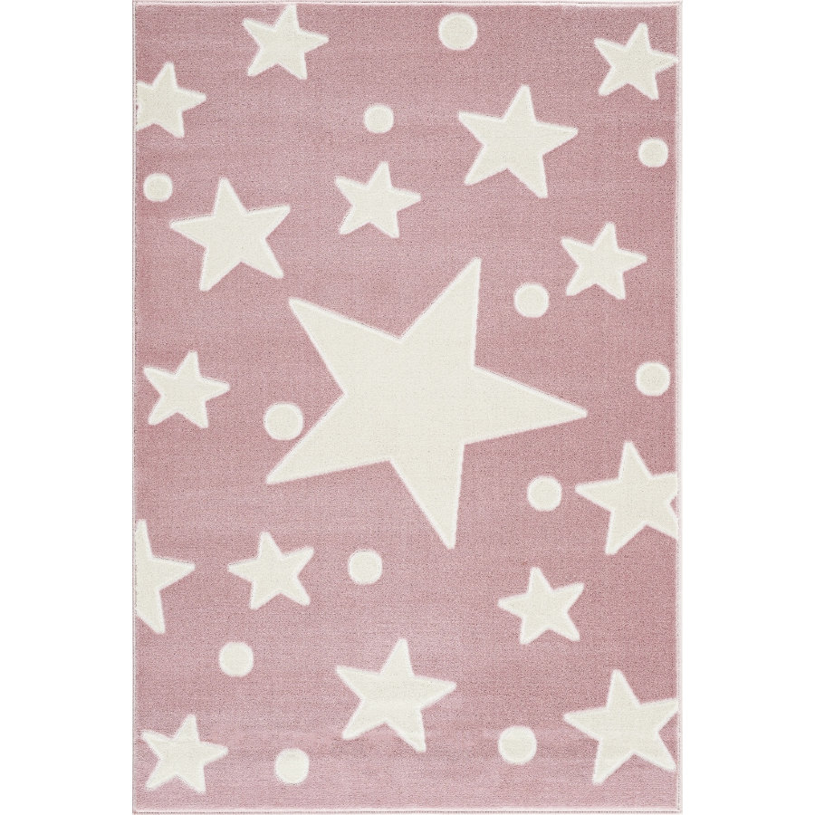 LIVONE Spiel- und Kinderteppich Happy Rugs Estrella rosa/weiss 160 x 230 cm