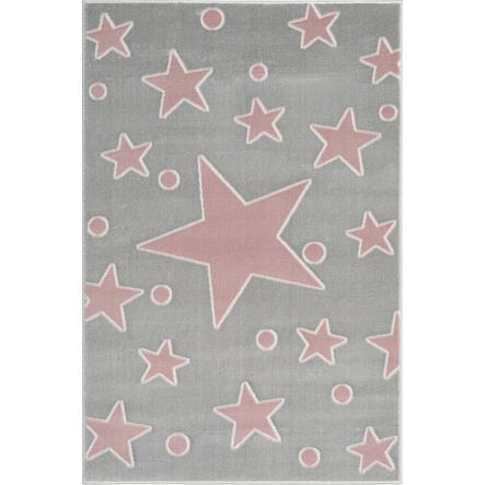 LIVONE play a dětský koberec Happy Rugs Estrella stříbrná šedá / růžová 120 x 180 cm