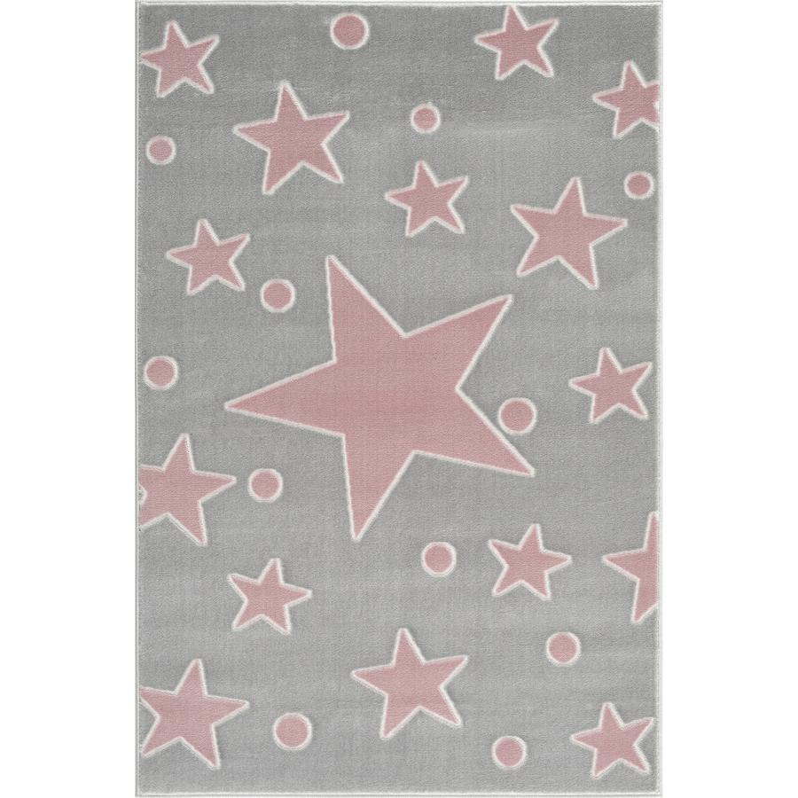 LIVONE Barnmatta Happy Rugs Estrella silvergrå/rosa 160 x 230 cm