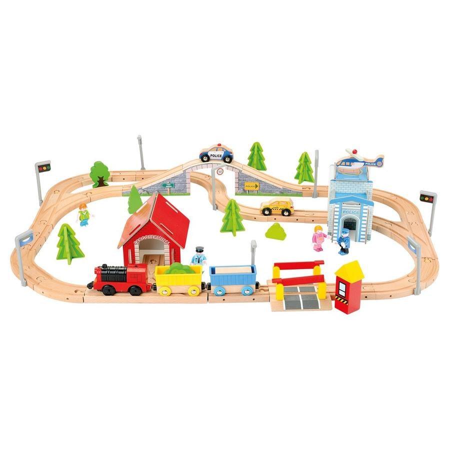 Bino Circuit train, locomotive à piles, bois, 80 pièces