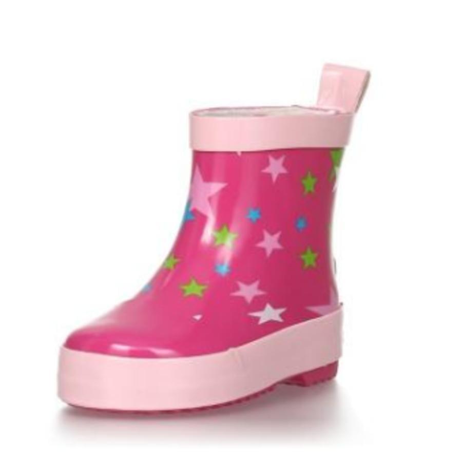 Playshoes  Bota de goma con media caña estrella rosa
