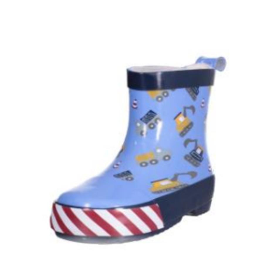 Playshoes Bottes enfant caoutchouc demi-tige chantier bleu