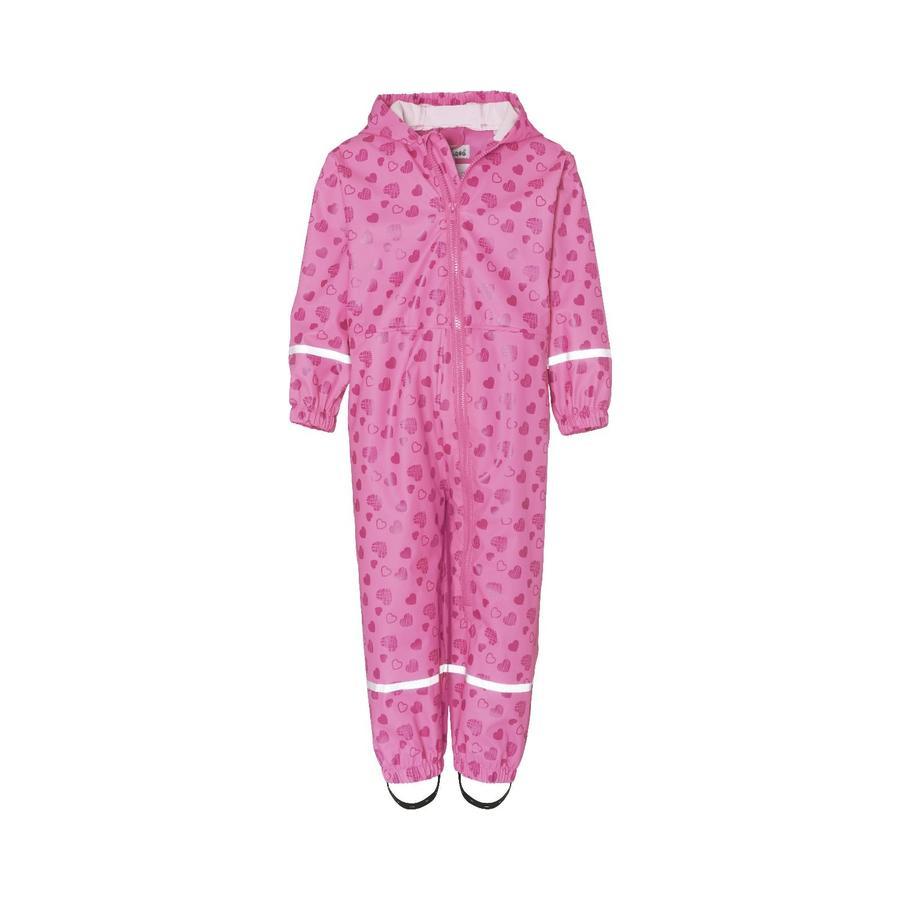 Playshoes Regen-Overall Herzchen pink