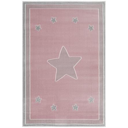 LIVONE leg og børnetæppe Happy Rugs - Prince ss pink / sølvgrå, 160 x 230 cm